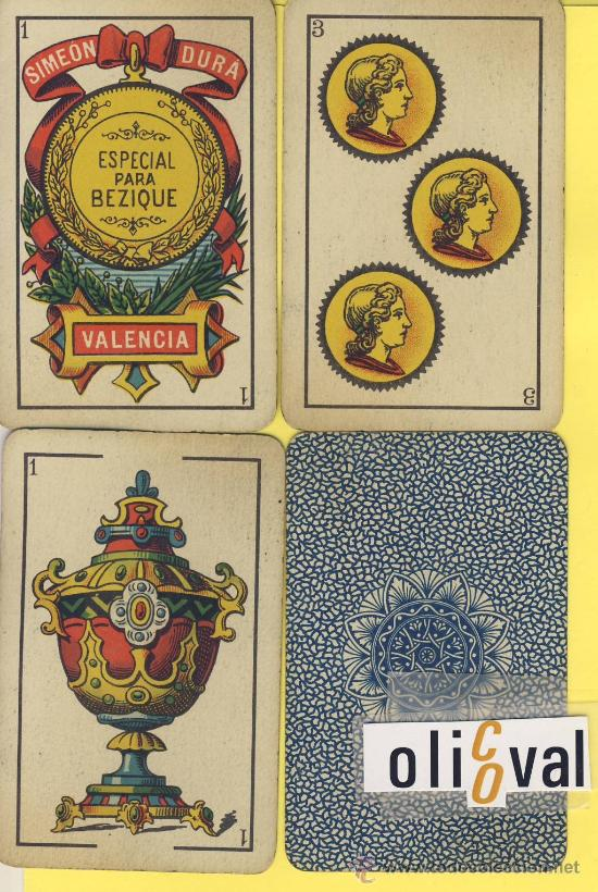 NAIPES.BARAJA.-SIMEON DURA -1888-CLASE BECIQUE-SOLO PARA ENTENDIDOS-DORSO AZUL- (Juguetes y Juegos - Cartas y Naipes - Baraja Española)