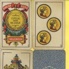 Barajas de cartas: NAIPES.BARAJA.-SIMEON DURA -1888-CLASE BECIQUE-SOLO PARA ENTENDIDOS-DORSO AZUL-. Lote 20564343