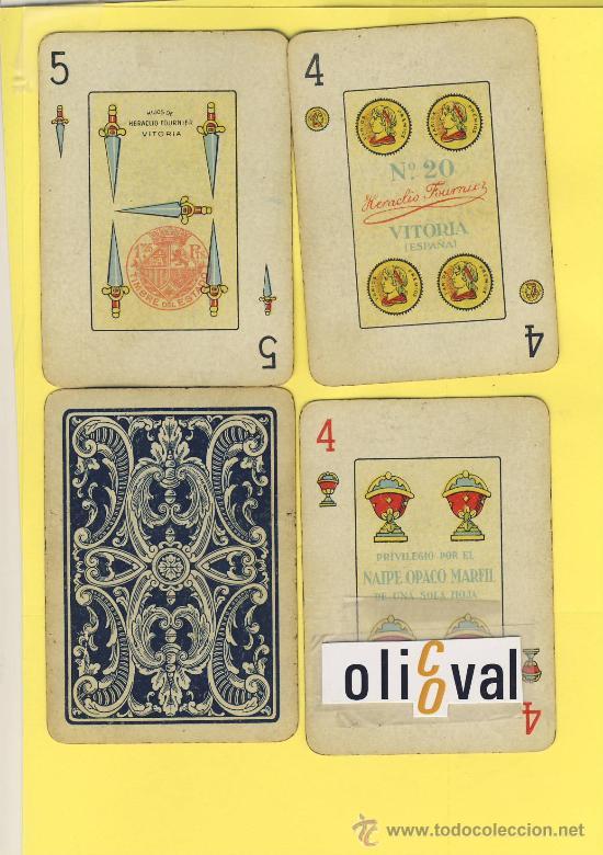 NAIPES.BARAJA. NAIPES HERACLIO FOURNIER Nº 20 DORSO AZUL 50 NAIPES - TIMBRE 1-VS.1940- (Juguetes y Juegos - Cartas y Naipes - Baraja Española)