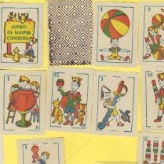 Barajas de cartas: NAIPES.BARAJA. INFANTILES-COMICAS AÑOS 30 MEDIDAS 55X40MM 50 NAIPES ENVASE NO ORIGNAL. Lote 21616725