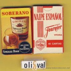 Barajas de cartas: NAIPE.BARAJA. HERACLIO FOURNIER- PUBLICIDAD SOBERANO-40 NAIPES-ESPAÑOLES-ENVASE ORIGINAL ROJO. Lote 20539761