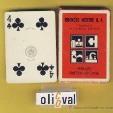 Barajas de cartas: NAIPE.BARAJA. HERACLIO FOURNIER-PUBLICIDAD -BRONCES MESTRE S.A .TORRE- 54 NAIPE POKER-TIMBRE 9-ED . Lote 14739073