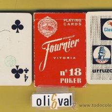 Barajas de cartas: NAIPE.BARAJA. HERACLIO FOURNIER-PUBLICIDAD-GLASURIT URRUZOLA 54 NAIPE POKER -TIMBRE.9.ED. Lote 21245097