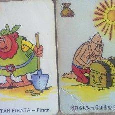 Barajas de cartas - 2 cartas naipes de la baraja Vikie, -Wickie-, El vikingo de ediciones recreativas (1975). Piratas - 23231054