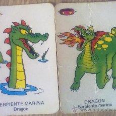 Barajas de cartas - 2 cartas naipes de la baraja Vikie, -Wickie-, El vikingo de ediciones recreativas (1975). Dragones - 23231056