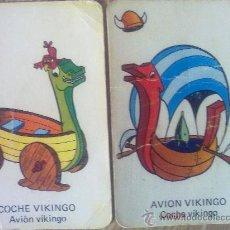 Barajas de cartas - 2 cartas naipes de la baraja Vikie, -Wickie-, El vikingo de ediciones recreativas (1975). vehiculos - 23231057