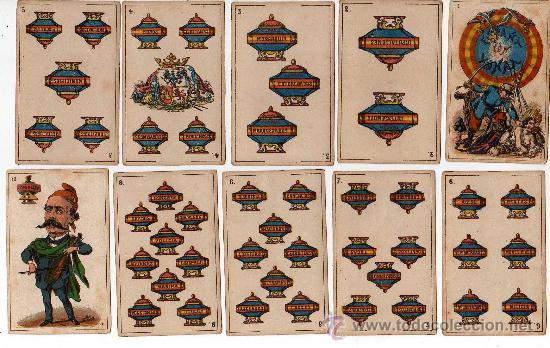 Barajas de cartas: BARAJA ESPAÑOLA, POLITICA DE 48 CARTAS, 1872 BARCELONA, COMPLETA, ANTIGUA, NO COPIA , - Foto 2 - 27431814