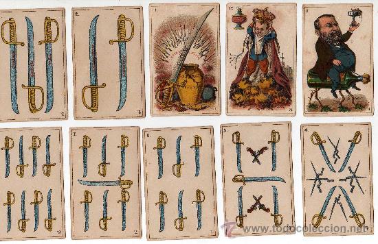 Barajas de cartas: BARAJA ESPAÑOLA, POLITICA DE 48 CARTAS, 1872 BARCELONA, COMPLETA, ANTIGUA, NO COPIA , - Foto 4 - 27431814