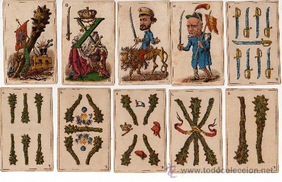 Barajas de cartas: BARAJA ESPAÑOLA, POLITICA DE 48 CARTAS, 1872 BARCELONA, COMPLETA, ANTIGUA, NO COPIA , - Foto 6 - 27431814