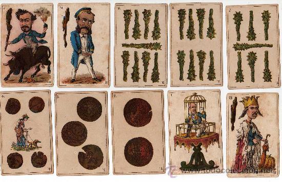 Barajas de cartas: BARAJA ESPAÑOLA, POLITICA DE 48 CARTAS, 1872 BARCELONA, COMPLETA, ANTIGUA, NO COPIA , - Foto 8 - 27431814