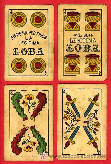 Barajas de cartas: BARAJA ANTIGUA , LA LOBA ,JUAN ROURA, 1939 , EXPORTACION, VER FOTOS, COMPLETA 40 NAIPES. - Foto 6 - 27195601