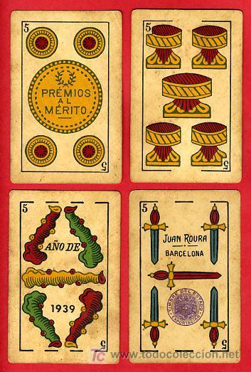 Barajas de cartas: BARAJA ANTIGUA , LA LOBA ,JUAN ROURA, 1939 , EXPORTACION, VER FOTOS, COMPLETA 40 NAIPES. - Foto 7 - 27195601
