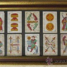 Barajas de cartas: CUADRO CON 14 CARTAS DE 1881- NAIPES DEL LEON DE M.A.MAFFEIS - CADIZ - DE MUSEO. Lote 27110874