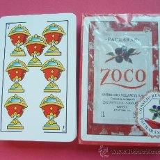 Barajas de cartas: BARAJA DE LA CASA ZOCO CON PROPAGANDA DEL PACHARAN. Lote 26405798