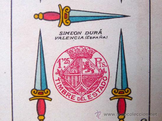 Barajas de cartas: BARAJA, NAIPES, ESPAÑOLA, SIMEON DURA, EL CID, Nº 25 CLASE ESPECIAL, TIMBRE DE 1,25 PESETAS, UNICA - Foto 12 - 23296640