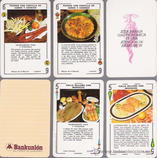 BARAJA ESPAÑOLA GASTRONOMICA, 48 CARTAS + 2 COMODINES, BANKUNION. (Juguetes y Juegos - Cartas y Naipes - Otras Barajas)