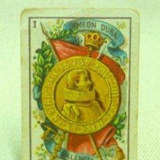Barajas de cartas: RARA Y ANTIGUA BARAJA SIMEON DURA, VALENCIA, INFANTIL, INCOMPLETA, DORSO ROJO, 26 NAIPES. Lote 24765348