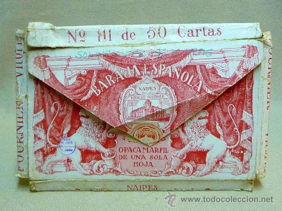 Barajas de cartas: ANTIGUO ESTUCHE, SOBRE, BARAJA ESPAÑOLA GIGANTE, Nº 111, HERACLIO FOURNIER, DE 50 NAIPES - Foto 6 - 24755670