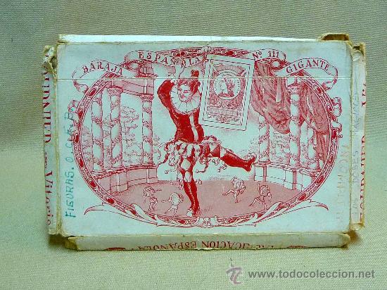 Barajas de cartas: ANTIGUO ESTUCHE, SOBRE, BARAJA ESPAÑOLA GIGANTE, Nº 111, HERACLIO FOURNIER, DE 50 NAIPES - Foto 3 - 24755670