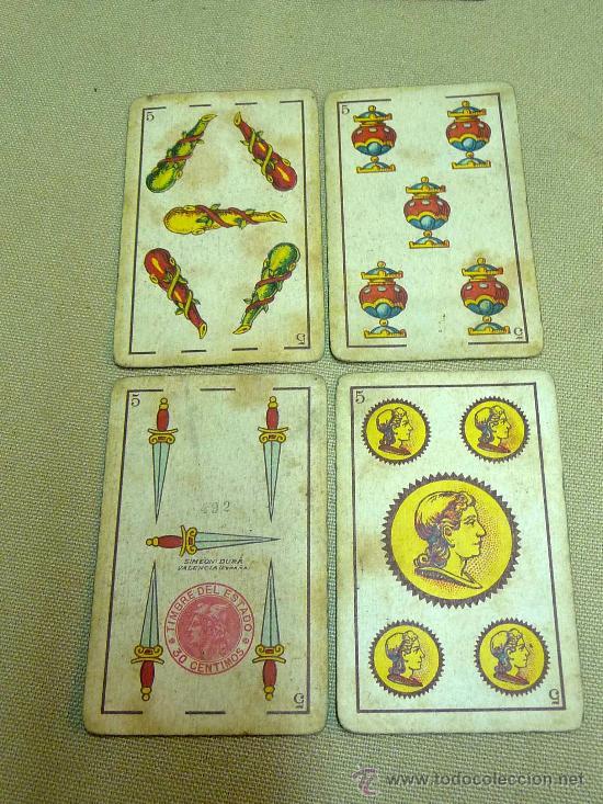 Barajas de cartas: ANTIGUA BARAJA SIMEON DURA, VALENCIA, TIMBRE 30 CENTIMOS, INCOMPLETA, DORSO ROJO, 31 NAIPES - Foto 4 - 24669216