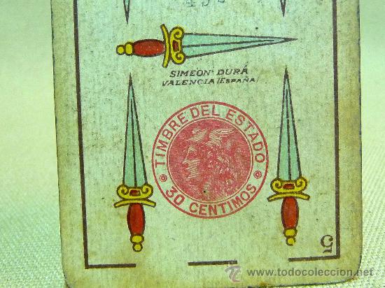 Barajas de cartas: ANTIGUA BARAJA SIMEON DURA, VALENCIA, TIMBRE 30 CENTIMOS, INCOMPLETA, DORSO ROJO, 31 NAIPES - Foto 17 - 24669216