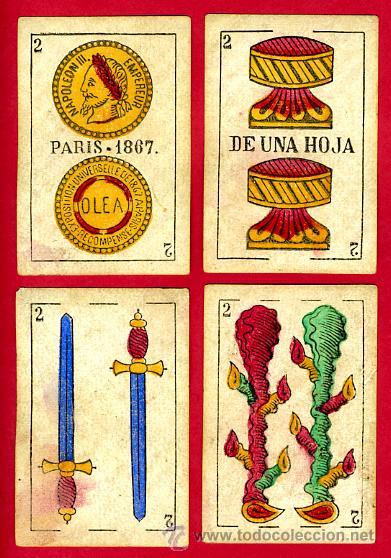 Barajas de cartas: BARAJA OLEA CADIZ , 1880 , ORIGINAL, ANTIGUA, 40 NAIPES , VER FOTOS ADICIONALES. COMPLETA - Foto 4 - 26202031
