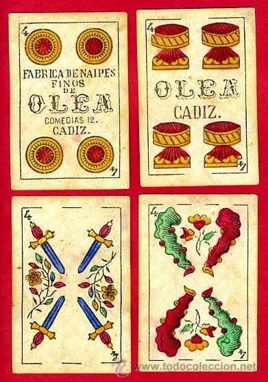 Barajas de cartas: BARAJA OLEA CADIZ , 1880 , ORIGINAL, ANTIGUA, 40 NAIPES , VER FOTOS ADICIONALES. COMPLETA - Foto 6 - 26202031