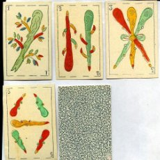 Barajas de cartas: 5 CARTAS DE BARAJA DEL SIGLO XIX, PALO DE BASTOS. Lote 26347856