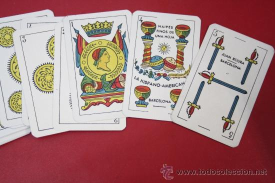 Barajas de cartas: Antigua Baraja de Naipes Finos Una Hoja - La Hispano Americana de Juan Roura Barcelona - Foto 2 - 26390562