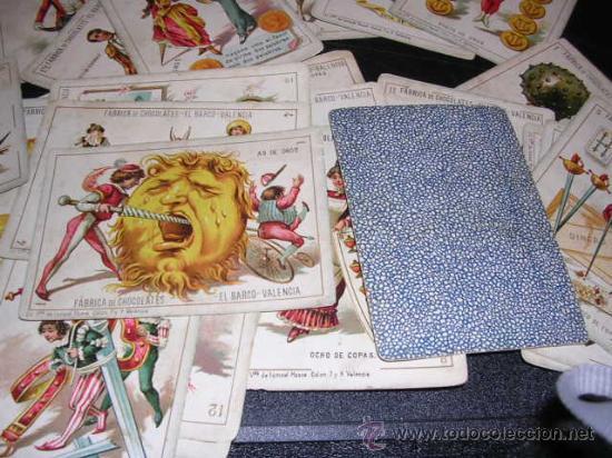 Barajas de cartas: BARAJA DE CARTAS FABRICA DE CHOCOLATES EL BARCO VALENCIA 1888,COMPLETA 48 CARTAS, MODELO GRANDE, - Foto 2 - 26526600