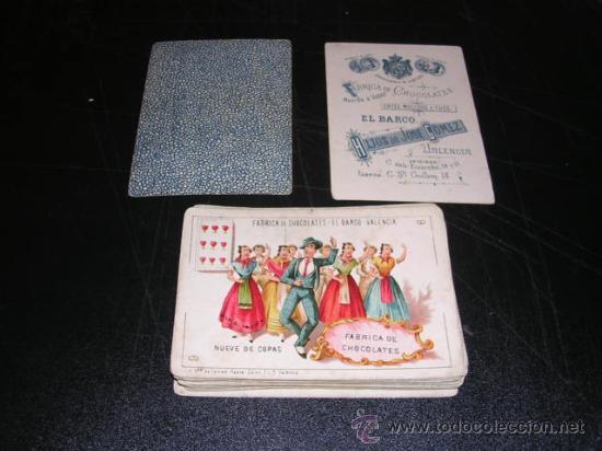 Barajas de cartas: BARAJA DE CARTAS FABRICA DE CHOCOLATES EL BARCO VALENCIA 1888,COMPLETA 48 CARTAS, MODELO GRANDE, - Foto 3 - 26526600