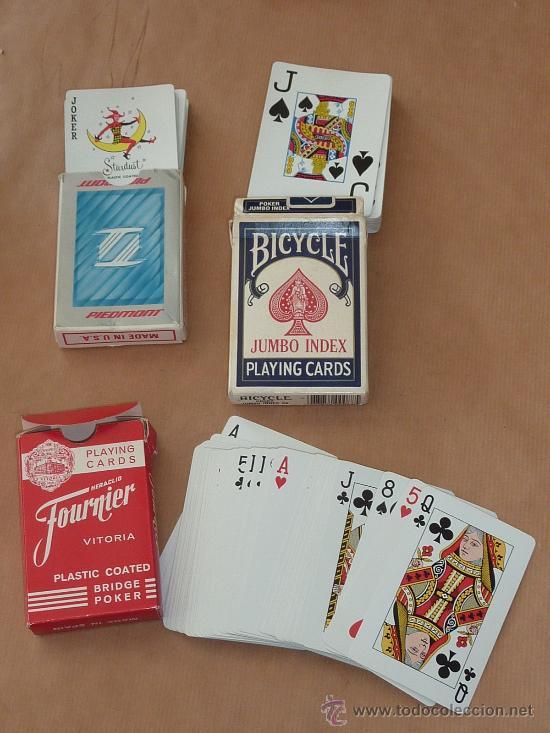 LOTE DE 3 BARAJAS DE CARTAS DE POQUER EN FUNDAS. (Juguetes y Juegos - Cartas y Naipes - Baraja Española)