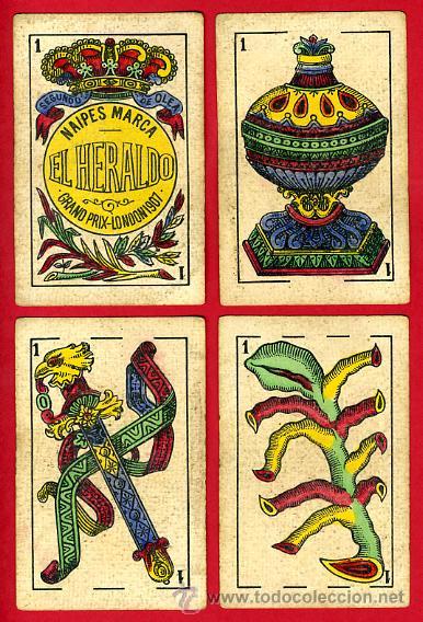 Barajas de cartas: BARAJA NAIPES EL HERALDO, DE SEGUNDO OLEA , CADIZ PARA EXPORTACION , COMPLETA , 40 CARTAS, ORIGINAL, - Foto 3 - 29291594