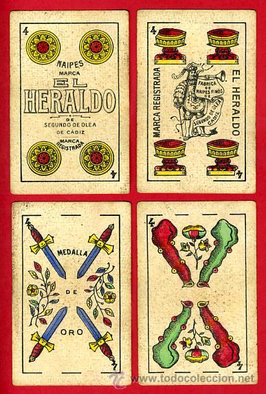 Barajas de cartas: BARAJA NAIPES EL HERALDO, DE SEGUNDO OLEA , CADIZ PARA EXPORTACION , COMPLETA , 40 CARTAS, ORIGINAL, - Foto 6 - 29291594