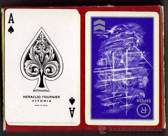 ESTUCHE 2 BARAJAS FOURNIER POKER, REVERSO PUBLICITARIO REPESA -CHEVRON (Juguetes y Juegos - Cartas y Naipes - Barajas de Póker)