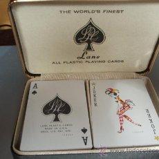 Barajas de cartas: 3878- ESTUCHE DE CUERO CON 108 CARTAS POKER DE LANE PLASTIC CARDS. Lote 31667377