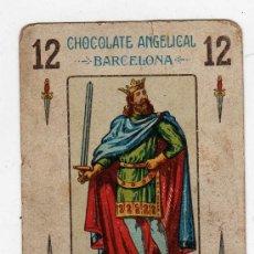 Barajas de cartas: (M) CROMO BARAJA CHOCOLATE ANGELICAL BARCELONA 12 DE ESPADAS, REVERSO LUCHA DE AVIONES. Lote 31847382