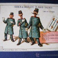 Baralhos de cartas: CHOCOLATE CHOCOLATES EL BARCO - BARAJA.3 TRES DE ESPADAS. FINALES DEL SIGLO XIX-SIN PUBLICIDAD.. Lote 33867926