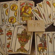 Barajas de cartas: MUY ANTIGUA Y RARA MINI BARAJA ESPAÑOLA DE CARTAS NAIPES COMPLETA 40 CARTAS SIN JUGAR, M Y M. Lote 34063302