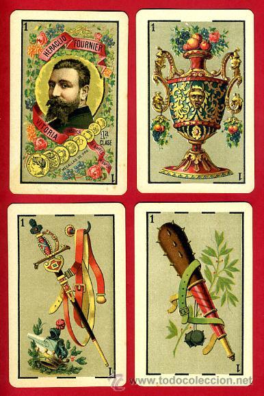 Barajas de cartas: BARAJA HERACLIO FOURNIER 1ª CLASE 1894 , COMPLETA 40 NAIPES ,ORIGINAL M - Foto 3 - 34110241