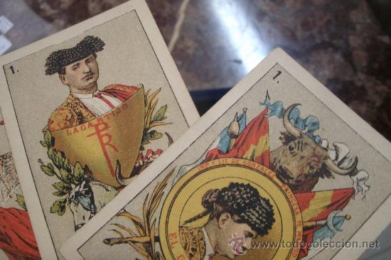 ANTIGUA BARAJA DE NAIPES ESPAÑOLES CON MOTIVOS TAURINOS ORIGINAL DEL AÑO 1875 - TODA COMPLETA (Juguetes y Juegos - Cartas y Naipes - Baraja Española)