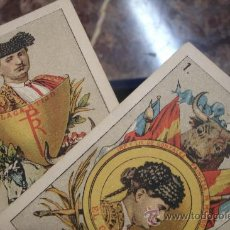 Barajas de cartas: ANTIGUA BARAJA DE NAIPES ESPAÑOLES CON MOTIVOS TAURINOS ORIGINAL DEL AÑO 1875 - TODA COMPLETA. Lote 35458254