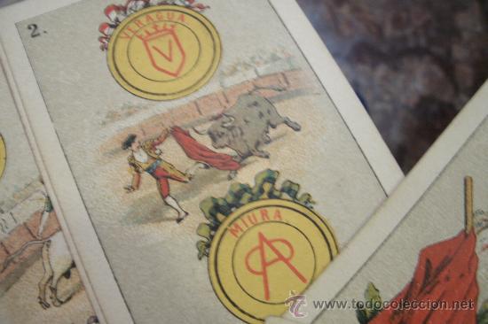 Barajas de cartas: ANTIGUA BARAJA DE NAIPES ESPAÑOLES CON MOTIVOS TAURINOS ORIGINAL DEL AÑO 1875 - TODA COMPLETA - Foto 5 - 35458254