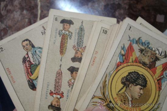 Barajas de cartas: ANTIGUA BARAJA DE NAIPES ESPAÑOLES CON MOTIVOS TAURINOS ORIGINAL DEL AÑO 1875 - TODA COMPLETA - Foto 2 - 35458254
