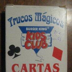 Barajas de cartas: BARAJA DE CARTAS TRUCOS MÁGICOS - BURGER KING - KIDS CLUB - FALTA UNA CARTA- TIENE DOS CARTAS JOKER. Lote 37220082