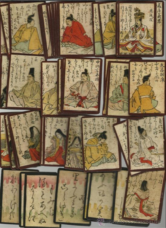 BARAJA HYAKUNIN DATA DE JAPON SIGLO XVIII 1750 COLECCION DE HACE UNOS AÑOS (Juguetes y Juegos - Cartas y Naipes - Otras Barajas)