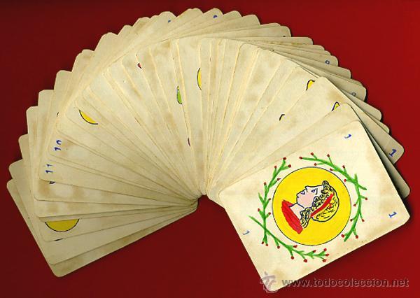 BARAJA ANTIGUA , PINTADA A MANO , ORIGINAL, COMPLETA , 40 NAIPES , A (Juguetes y Juegos - Cartas y Naipes - Baraja Española)