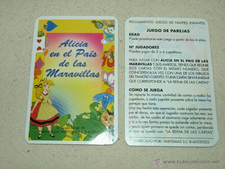 Barajas de cartas: BARAJA DE JUEGO DE PAREJAS. ALICIA EN EL PAIS DE LAS MARAVILLAS. 31 CARTAS. VER FOTOS. - Foto 9 - 41077740