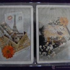 Barajas de cartas: ESTUCHE CON 2 BARAJAS FOURNIER POKER. REVERSO POSTALES. PRECINTADA.. Lote 42314660