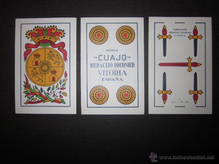 BARAJA CARTAS CUAJO HERACLIO FOURNIER- AÑO 1962- 28 CARTAS , 7 POR PALO - (CR-607-BIS ) (Juguetes y Juegos - Cartas y Naipes - Otras Barajas)